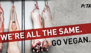 Ingrid Newkirk's 'We're All the Same, Go Vegan' ad for Peta.