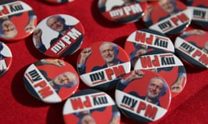 Badges with the face of the Labour leader, Jeremy Corbyn, outside the party conference in Brighton yesterday.