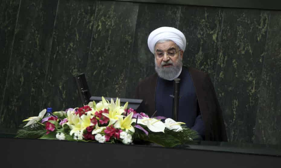 Hassan Rouhani in parliament on Tuesday. 'We will return to our previous situation very much stronger.'