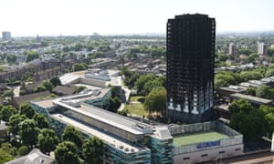 Grenfell Tower in London after the fire in June 2017