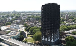 Grenfell Tower after the fire in June 2017 which killed 72 people.