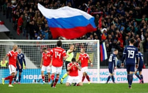 Ozdoev celebrates scoring Russia's second.