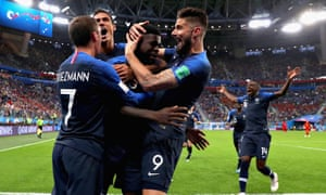 Samuel Umtiti celebrates with his teammates after scoring the winner for France in their World Cup semi-final against Belgium in St Petersburg.