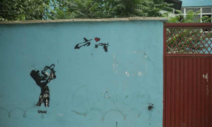 Kabul graffiti in a still from National Bird.