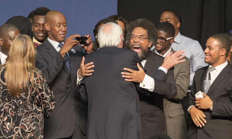 Bernie Sanders with Dr Cornel West in South Carolina in September 2015.