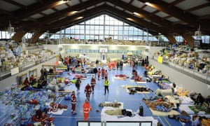 6.2 magnitude earthquake hits central Italyepa05509337 A general view ofrom inside a sports hall providing earthquake victims and rescue workers with temporary shelter after the earthquake in Amatrice, central Italy, 25 August 2016. The provisional death toll from Wednesday's earthquake in central Italy has risen to 247, the civil protection agency said Thursday, 25 August. EPA/FLAVIO LO SCALZO