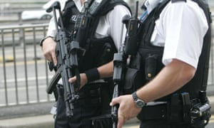 Armed police on patrol