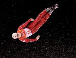 Nikitina Liubov, Olympic Athlete of Russia, action during the women's freestyle skiing aerial qualification.
