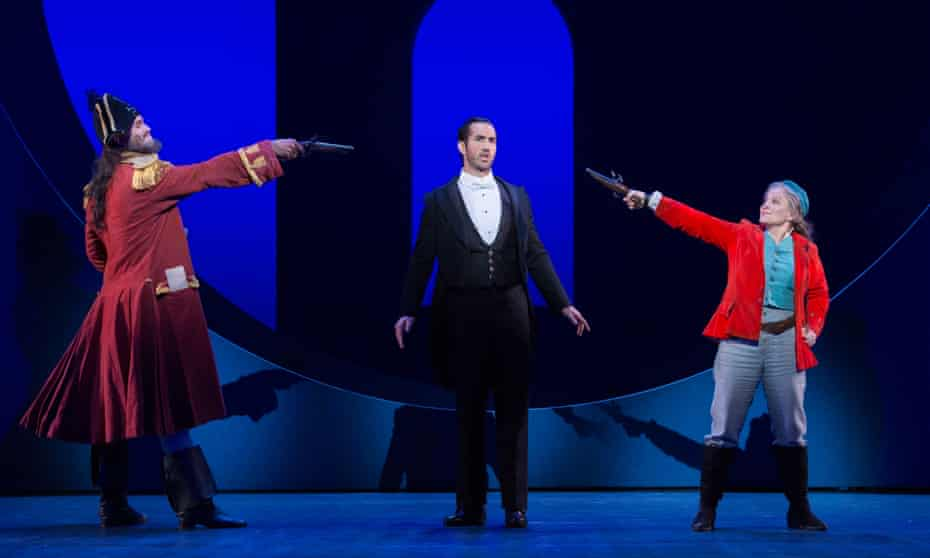 Ashley Riches as the Pirate King, David Webb as Frederic and Lucy Schaufer as Ruth in the Pirates of Penzance.