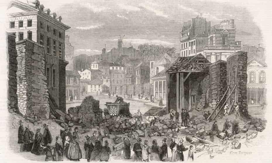 A drawing of the rebuilding of Paris under Haussmann's command, from around 1860.