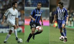(Left to right): Álvaro Arbeloa of Real Madrid, Inter Milan's Amantino Mancini and Nuno Valente of Porto.