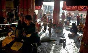 Pilgrims at the Jokhang Temple in Lhasa, 2007.