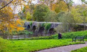 The ancient stone built Shaws Bridge over the River Lagan.