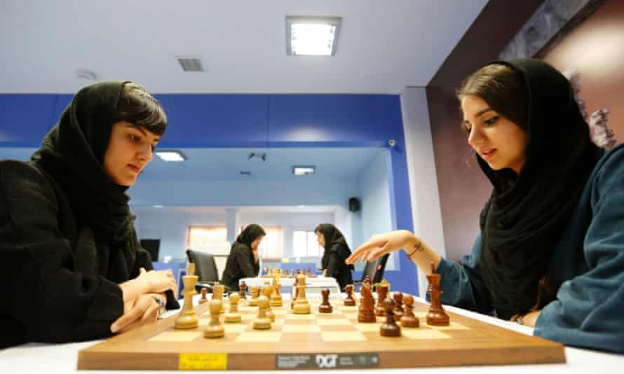 Iranian women chess players take part in Tehran tournament in 2016