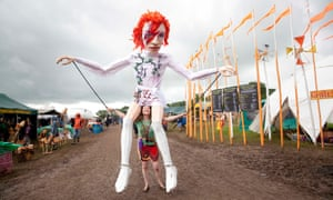An eye on posterity … puppeteer Nikki Gumson with her David Bowie puppet at Glastonbury 2016.