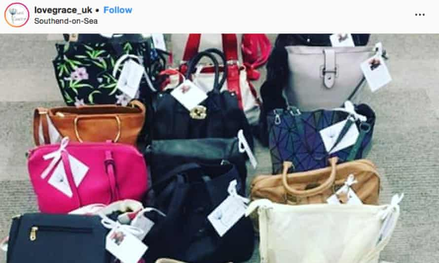 A photograph of donated handbags, taken from the @lovegrace_uk Instagram account in memory of Grace Millane.