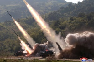 A video still shows the firing of two suspected short-range missiles by North Korea