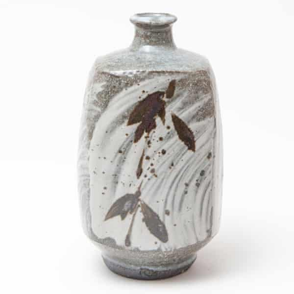 A squared bottle hakeme and iron brush pattern from Phil Rogers' May 2020 exhibition at Goldmark