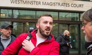James Goddard arrives at Westminster magistrates court in London.