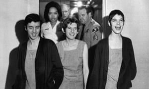 Susan Denise Atkins, (left), Patricia Krenwinkel and Leslie Van Houten (right), laugh after receiving the death sentence for their part in the Tate-La Bianca killing at the order of Charles Manson.