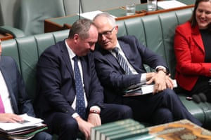 Malcom Turnbull and deputy Barnaby Joyce during a division.