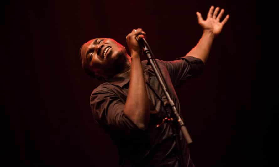 Aliou Toure of Songhoy Blues performs at the Celtic Connections festival in Glasgow.