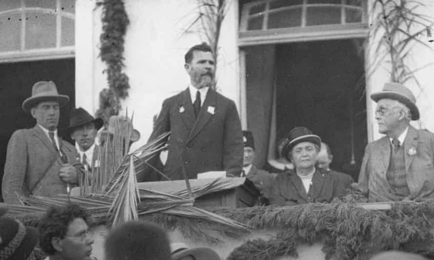 Lord Balfour, the Conservative statesman and former prime minister, listens to an address during his 1925 visit to Palestine.
