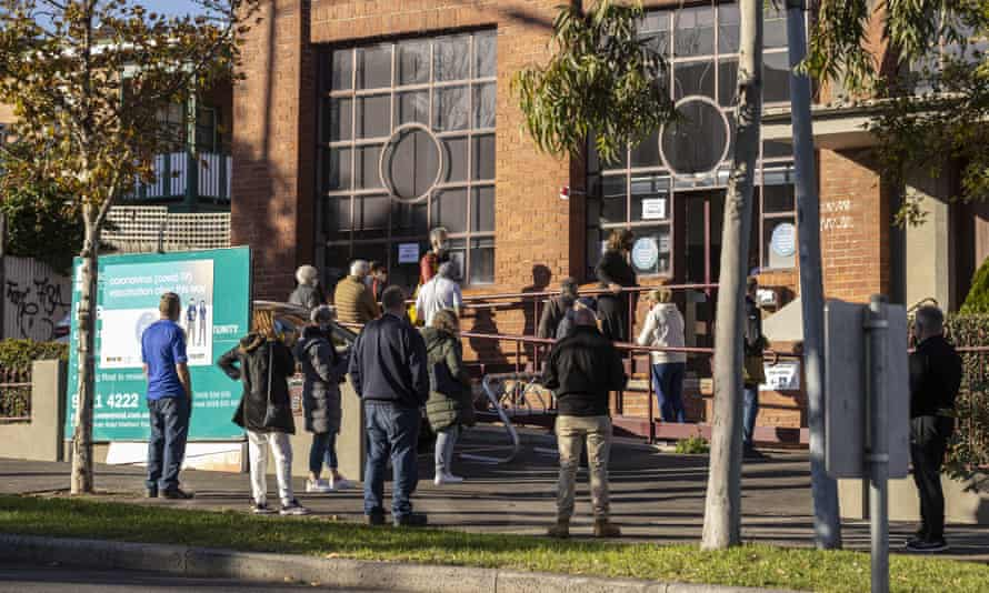 People line up outside a Covid-19 vaccination centre in West Melbourne, Victoria, Australia, 31 May 2021.