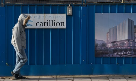 Defaced branding is seen outside Carillion's Royal Liverpool Hospital site which is being built by the construction company on January 19, 2018 in Liverpool, England. The company has announced it is to go into liquidation putting thousands of jobs at risk after talks between the company, its lenders and the government failed to reach a deal.