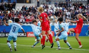 Lindsey Horan of the US lashes the ball home for their third goal.