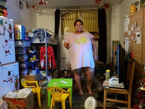 Kaisha Hance in the basement flat she shares with her two children in Croydon.
