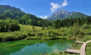 Kranjska Gora lake and mountains
