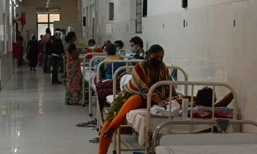 Patients on a Covid ward in a Hyderabad hospital on 21 May.