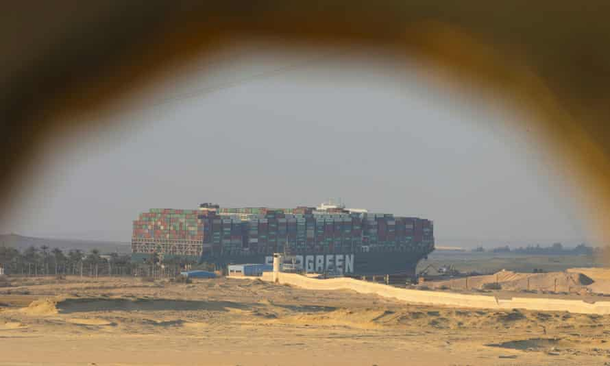 The stranded container ship Ever Given, one of the world's largest container ships, after it ran aground, in the Suez Canal