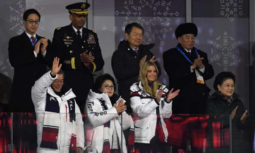 (front row) South Korea's president, Moon Jae-in (left), his wife Kim Jung-sook (centre), Ivanka Trump (centre right), (back row) North Korean Gen Kim Yong-chol (right), and US forces Korea commander Gen Vincent K Brooks (second left) at the closing ceremony.