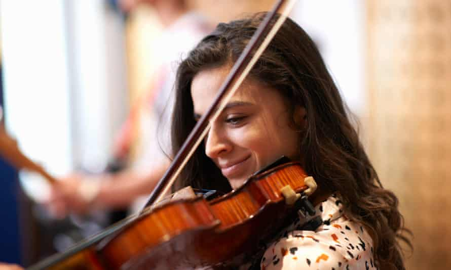 Student playing violin