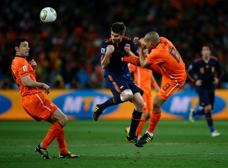 Nigel De Jong of the Netherlands tackles Xabi Alonso of Spain during the 2010 World Cup final.