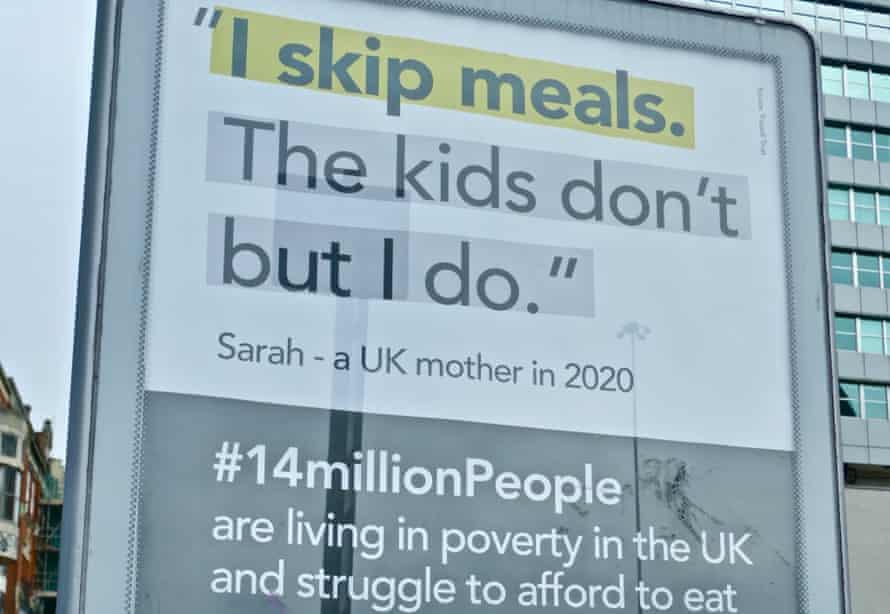 sign seeking help for UK poor