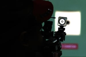 A competitor during the women's 10m air rifle qualifications
