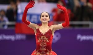 Alina Zagitova celebrates her victory.