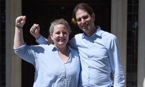 'Same-sex couples were only invited to the marriage malarkey because it was a failing institution, as divorce rates rise among heterosexuals.' Rebecca Steinfeld and Charles Keidan celebrate their supreme court victory.