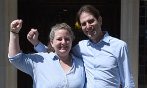 Rebecca Steinfeld and Charles Keidan after winning their right to enter into a civil partnership