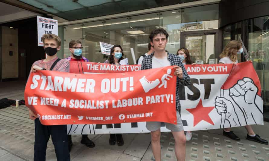 Members of leftwing Labour groups protest outside the party's NEC meeting last week in London.