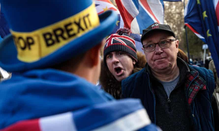 Pro-Brexit and anti-Brexit protesters clash outside the Houses of Parliament.
