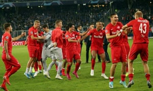 Salzburg celebrate a 6-2 victory over Genk in their opening Champions League group game.
