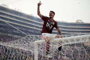 Thuler of Flamengo celebrates after winning the final match of Copa Libertadores final.