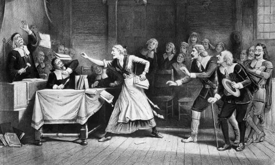 Lithograph of witch trial in Salem, Massachusetts.