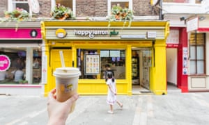 Happy Lemon's 'green tea with cream crown' at its shop in Soho, London.