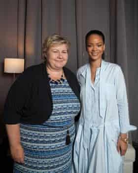 RIhanna with Norwegian prime minister Erna Solberg