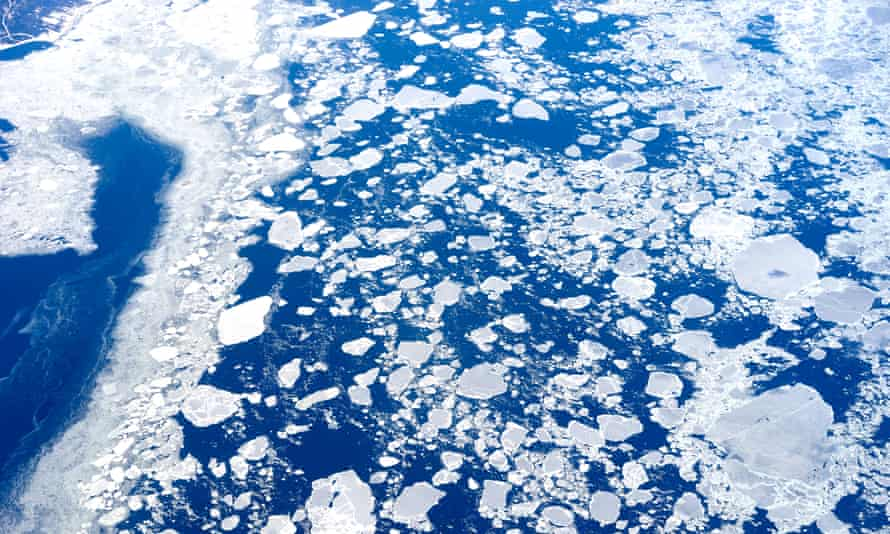 Melting sea ice in the Arctic Ocean.